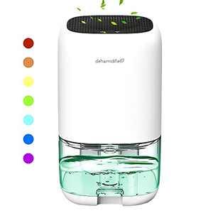 Mini Dehumidifier for Home, Small Dehumidifier, 35oz/1000ml Capacity for 50-260Sq.ft Utra-Quiet Compact Portable Mini Dehumidifier, with 7-Color LED Lights Auto Shut-Off, for Living Room, Kitchen, Bathroom, Bedroom, Basement, RV, Wardrobe