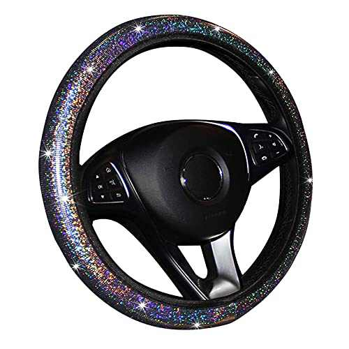 Steering Wheel Cover Cars, Universal 14.5-15 Inches, Compatible with Most Makes and Models of Cars for Women,Party,Birthday Gift (Silver)