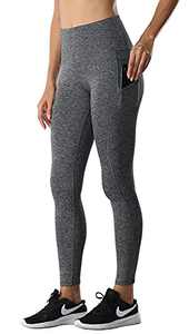 ENEESSI Women's Buttery Soft High Waisted Yoga Pants Athletic Naked Feeling Workout Ankle Leggings with Pockets Heather Grey Medium