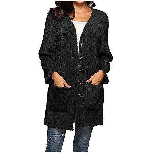 Women's Fuzzy Fleece Button Up Open Front Long Cardigan Coat Faux Fur Warm Winter Long Outwear Jackets
