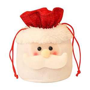 1Pcs 3D Design Christmas Kids Candy Bags Pouch Cotton Santa Claus Snowmen Xmas Gift Bag Children Bag Drawstring Container (A)