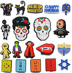 19 PCS Halloween Horror Skull Shoe Charms Fits for Clog for Shoe and Bracelet Wristband Party Decoration Gifts for Boys Girls Teens Women Men Adult Kids Favor Birthday Gifts