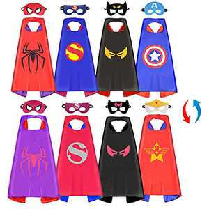 Superhero Capes for Kids: Superhero Dress Up Costume Double Satin Capes and Mask for 3 -10 Year Old Girls Boys Gifts (②Double-sided Superhero Costume Sets)