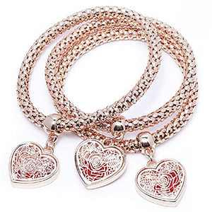 Crystal Love Charms Multilayer Bracelets - 3PCS Gold/Silver/Rose Gold Corn Chain Bracelet for Women, Rose Heart Charm Shaped Stretch Bracelet (ROSE GOLD ROSE CHARM BRACELETS)