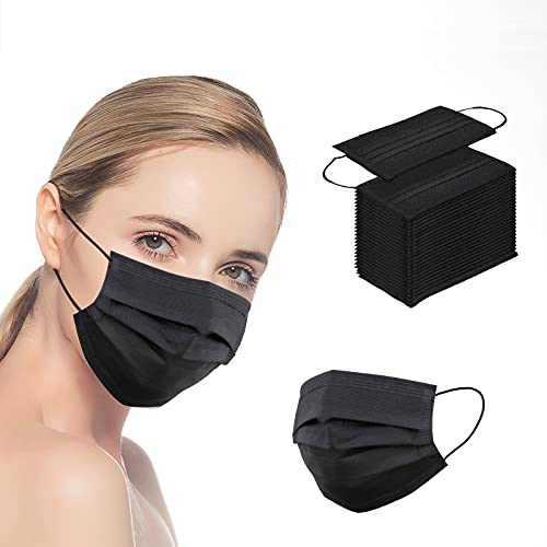 100 Pcs Black Face_Masks, 3-Layer Breathable Anti-dust Protective Masks, Face_Mask for Adult/Women/Man