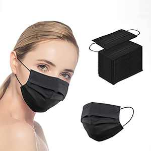 50 Pcs Black Face_Masks, 3-Layer Breathable Anti-dust Protective Masks, Face_Mask for Adult/Women/Man