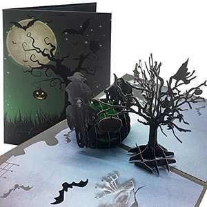 Halloween Pop Up Card Halloween Decor 3D Card Halloween Greeting Card Black Tree Witches Cauldron Halloween Gift Card for Birthday Christmas Presents