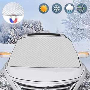 Meddom Windshield Snow Cover, Windshield Shade Cover with 4 Layers Protection, Car Windshield Snow Cover for Ice, Snow and Frost, Car Sun Shade for Windshield, Fits Most Cars and SUV