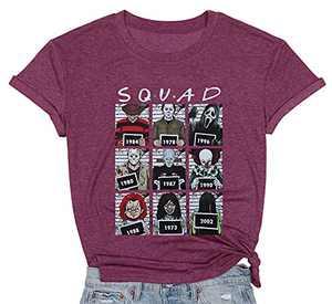 Halloween Squad T-Shirt Women Horror Movie Shirt Hocus Pocus Weird Graphic Print Top Casual Short Sleeves Tees (Fuchsia, Medium)