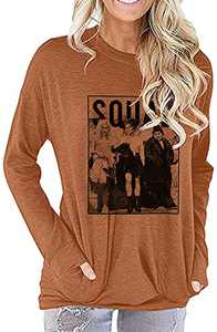 UNIQUEONE Womens Halloween Squad T-Shirt Funny Sanderson Sisters Graphic Tee Top (Brown, X-Large)