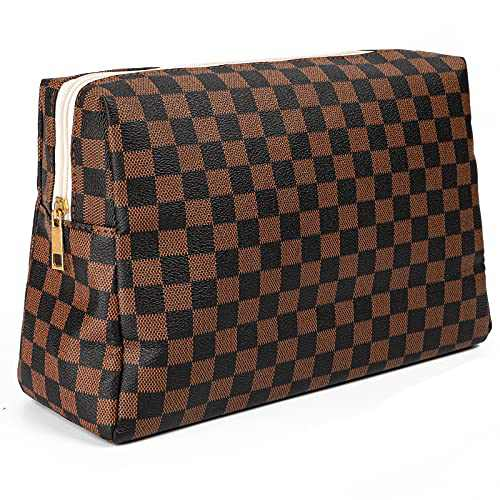 Checkered Travel Makeup Bag - Zipper Pouch Vegan Leather Large Retro Cosmetic Bag, Waterproof Cosmetic Organizer for Women and Girls