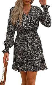 PRETTYGARDEN Women's Leopard Mini Dress Long Sleeve V Neck Elastic High Waist Chiffon Swing A-Line Dresses (Black, Medium)