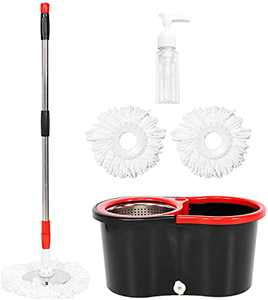 Mop and Bucket with Wringer Set,Stainless Steel Deluxe 360 Spinning Mop and Bucket Floor Cleaning System with 2 Microfiber Replacement Head Refills