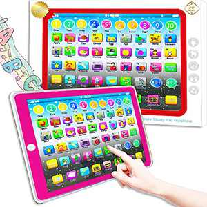 Learning Tablet Toy, Baby Tablet Preschool Child Early Educational Touch Pad for Fun Learn Number ABCs Spelling Animal Pink