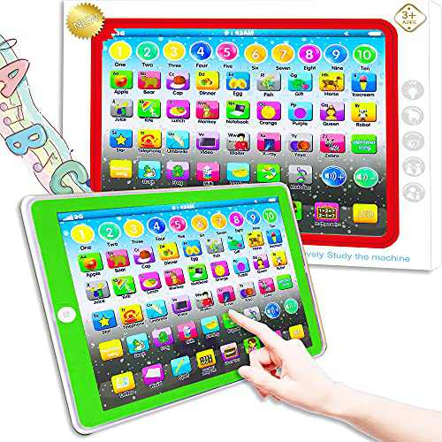 Learning Tablet Toy, Baby Tablet Preschool Child Early Educational Touch Pad for Fun Learn Number ABCs Spelling Animal Green