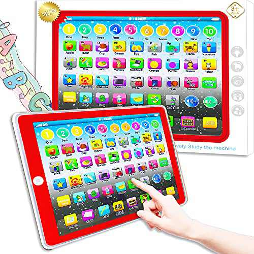 Learning Tablet Toy, Baby Tablet Preschool Child Early Educational Touch Pad for Fun Learn Number ABCs Spelling Animal Red