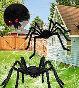 """276"""" Spider Webs Halloween Decorations, 60"""" Giant Spider+36"""" Large Scary Fake Spider+80g Stretch Cobweb with 12 Small Spiders for Outdoor Yard Lawn Home Clearance Party Haunted House Decor"""