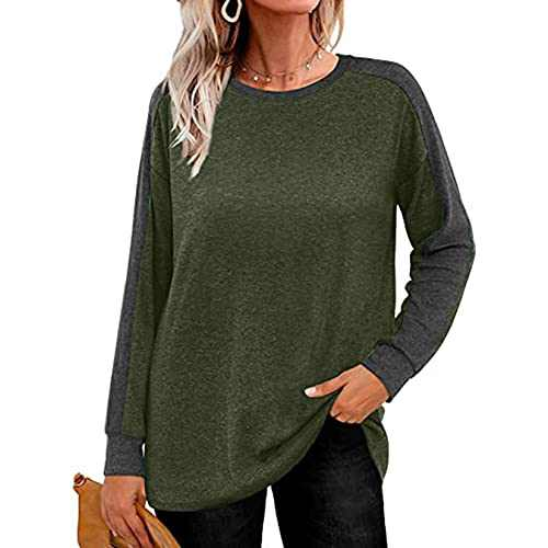 Women's Color Block Tunic Round Neck Long Sleeve Shirts Causal Blouses Tops (Green 01, XXL)