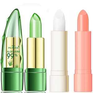 Aloe Vera Color Changing Clear Jelly Lipsticks, Lasting Nutritious Lip Balm Lips Natural Moisturizing gentle colorless Lipstick Lip Gloss 3pcs