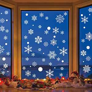 324 Piece Christmas Snowflake Window Stickers - Xmas Holiday White Winter Christmas Window Decorations Ornaments(9 Sheets)