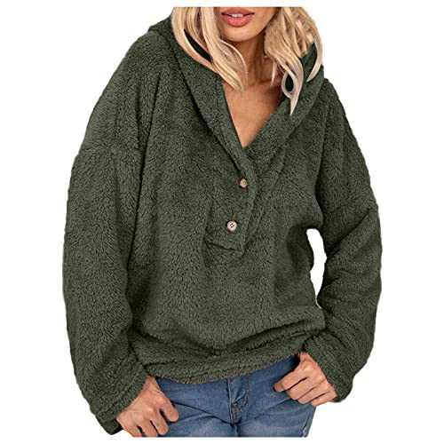 2021 Winter Women's Fleece Hoodies Sweatshirts Button Up Long Sleeves Shaggy Fuzzy Pullovers Short Tops