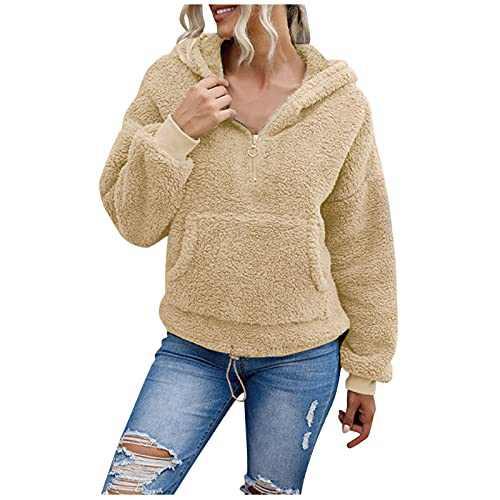 Womens Long Sleeve Solid Fuzzy Fleece 1/4 Zipper Hooded Cardigans Jacket Coats Outwear with Pocket