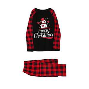 Christmas Pajamas for Family Snowman Plaid Printed Xmas Pajamas Pjs Sleepwear Outfits Matching Set (Woemn, M)