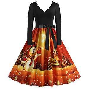 Fall Dresses for Women Christmas 2021 Long Sleeve Prom Cocktail Midi Party Dress1950S V-Neck Maxi Dress Orange