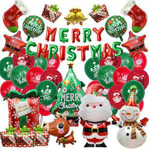 Merry Christmas Party Balloons Decorations, 51 Pcs Christmas Balloons Supplies Include Merry Christmas Santa Claus Elk Tree Bell Snowman Star Foil Balloons with Latex Balloons for New Year Xmas Party