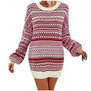 Aimik Women's Sweater Tunic Dress Christmas Fall Pullover Sweater Bodycon Dresses Casual Long Sleeve Striped Sweater Dress Red