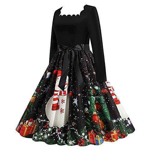 Women Fall Dress 2021 Long Maxi Dress Christmas 1950S Waist Vintage Long Sleeve Prom Cocktail Party Dress
