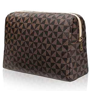 Checkered Travel Makeup Bag, Vegan Leather Large Retro Cosmetic Pouch, Toiletry Travel Bag for Women, Portable and Waterproof Brown Makeup Bag(Triangle)