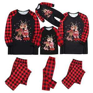 Christmas Pajamas for Family, Matching Pajamas Set Plaid Elk Printed PJs Xmas Merry Christmas Long Sleeve Loungewear Set