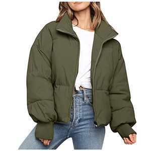 Women's Winter Casual Loose Soft Thick Puffer Jackets Women's Oversized Long Sleeve Windproof Zip Up Short Down Coats