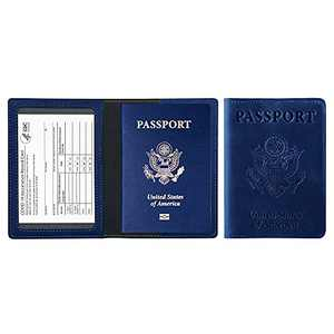 PU Leather Passport Holder Ultra Slim Passport Wallet for Men and Women (Dark Blue)-Dark Blue