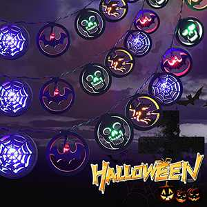MILEXING Halloween Decorations, 2021 New Version 10ft 20 LEDs Wooden String Lights with 4 Patterns, Battery Operated Halloween Lights Decor for Home Party Garden Indoor Outdoor