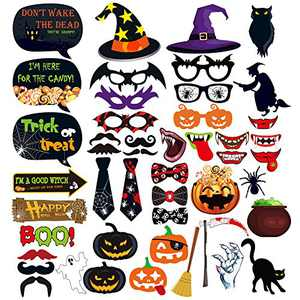 Halloween Photo Booth Props(47PCS ) Creepy Costume Props with Sticks for Halloween Decorations, Trick or Treat Décor for Kids Adults, DIY Crafts Birthday Gifts Photo Shoot Backdrop Favor (47 PCS)
