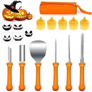 Pumpkin Carving Kit, Carve Halloween Lantern Set 16 PCS Professional Duty Stainless Steel Lanterns Pumpkin Carving Tools Set for Party Decorations with Storage Bag Included Drawing Stencils and Lamps