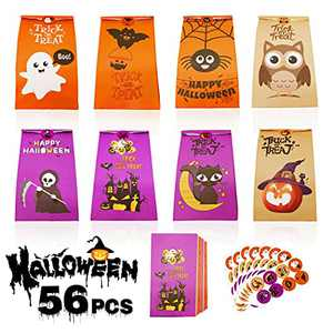 Halloween Treat Bags, 56 Pcs Candy Goodie Bag for Kids, Small Trick or Treating Party Decorations Favor, Gift Paper Bag