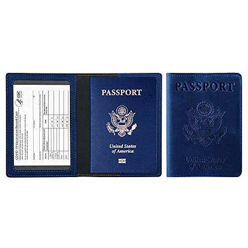 PU Leather Passport Holder Ultra Slim Passport Wallet Travel Document for Men and Women (Dark Blue)-Dark Blue