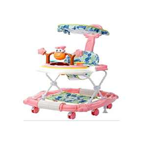 Foldable Activity Walker Helper with Adjustable Height Baby Activity Walker with High Back Padded Toys, Gray (Bunny Walker-Princess Powder)