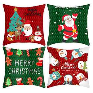 Christmas Pillow Covers 18×18 Inch Set of 4 Farmhouse Pillow Covers Short Plush Winter Decorations Holiday Rustic Sofa Square Cushion Pillow Case Home Indoor Christmas Decorations