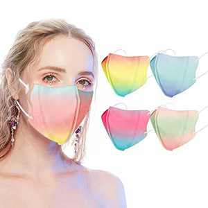 3D Disposable Face Masks with Designs-40Pack,Breathable Tie Dye Mask,Individually Wrapped Face Masks for Adult Men & Women-3 Ply