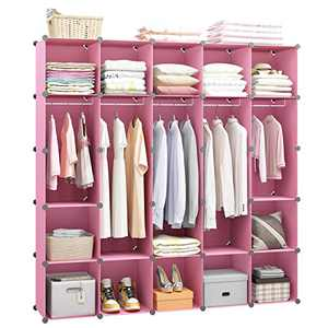 MAGINELS Portable Closet Clothes Wardrobe with Metal Panels Bedroom Armoire Modular Storage Organizer Cube Storage with 5 Hanging Rod,Pink