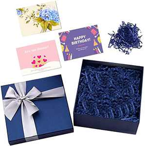 CINBOS Blue Gift Box, Luxury Gift Box with Lid and Paper Fill, 6.5x 6.5x 2.5 inches, for Christmas, Holidays, Birthdays, Bridesmaid Proposal and Graduations