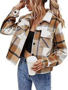 XCHQRTI Womens Plaid Cropped Shacket Button Down Short Casual Flannel Jacket Coat Khaki S