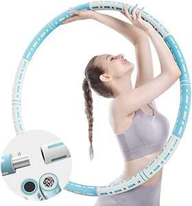 CINBOS Exercise Hula Hoop, Weighted Workout Hoops for Adults, Adjustable Weights Stainless Steel Sports Fitness Hoop 1.6-8.2lb, Portable Exercise Equipment, for Home and Gym Exercises Blue White